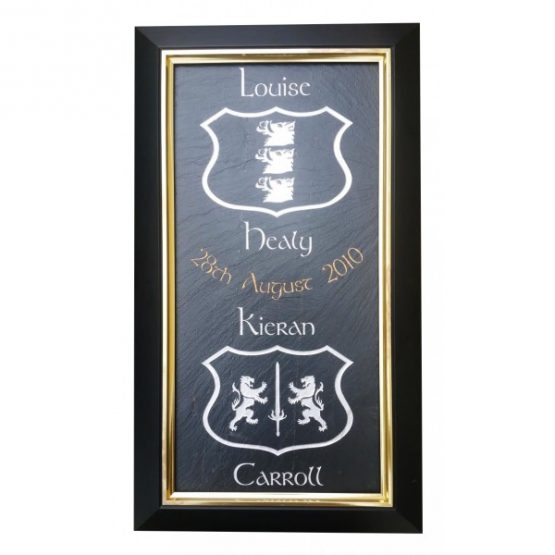 Framed Dual Coat of Arms Natural Slate