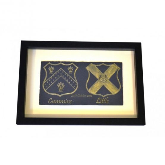Framed Dual Coat of Arms Natural Slate Plaque