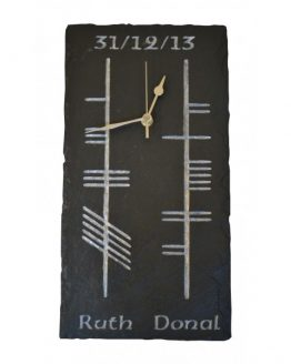 Natural Slate Ogham Clock with Couple's Names and Date