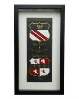 Framed Natural Slate Clock featuring Coats of Arms in Crest Colours