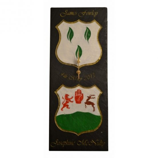 Dual Family Crest Natural Slate Clock in Crest Colours