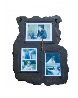 Natural Slate Multi Photo Frame and Clock